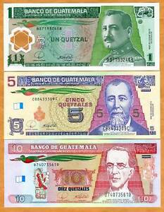 Guatemala-SET-1-5-10-Quetzales-2008-P-NEW-UNC