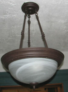 Image is loading PENDANT-DOME-LIGHT-FIXTURE-DUST-BROWN-FINISH-ALABASTER-