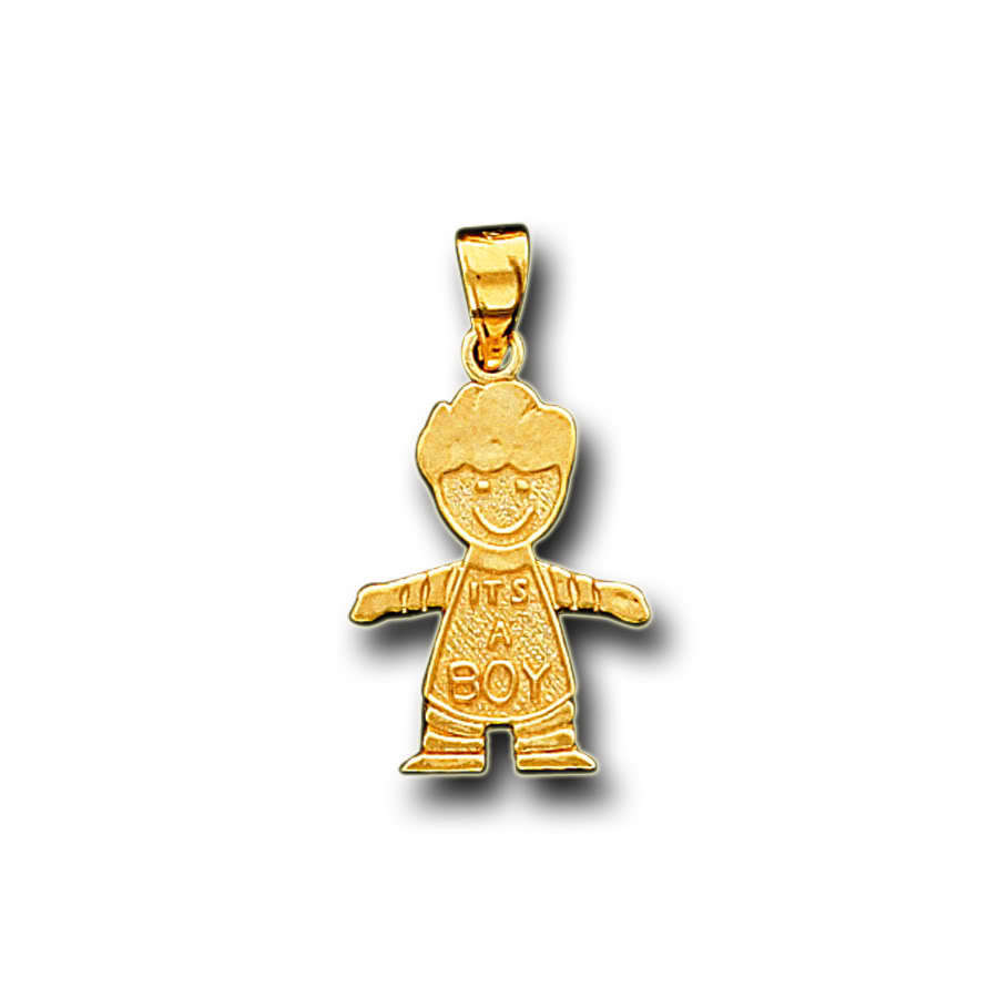 14k Solid Yellow Gold It's A Boy Charm Pendant