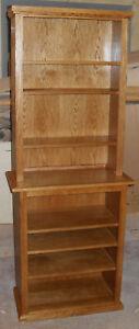 New oak media shelves, bookcase or displaycase