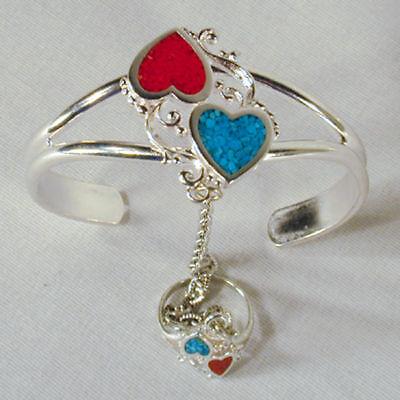 Twin Heart Slave Bracelet 77 Cuff Ring Hearts Item Ladies Silver Jewelry
