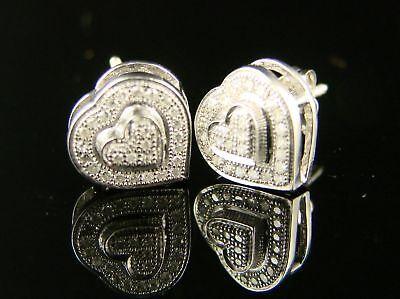 Ladies Heart White Gold Finish Diamond Earrings Stud on sale