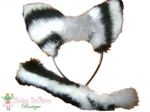 Zebra-Ears-Tail-Faux-Fur-Fancy-Dress-Kids-Adults