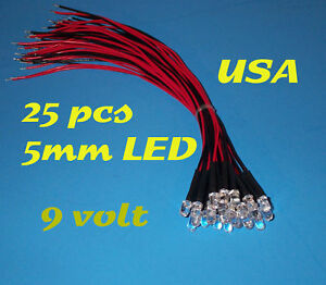 25 PRE WIRED RED LED LIGHTS 5mm 9 VOLT 9V WIRE PREWIRED