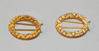 Vintage Gold Metal Oval Child Children Barrettes