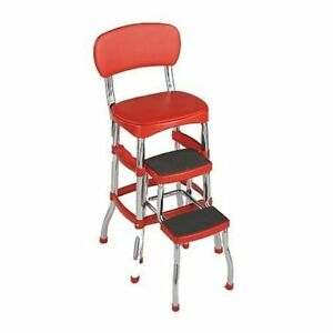 Cosco-Retro-Kitchen-Stool-Red-with-Folding-Step-NEW