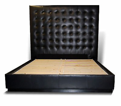 Contemporary king genuine leather platform tufted bed xxt for Very headboards