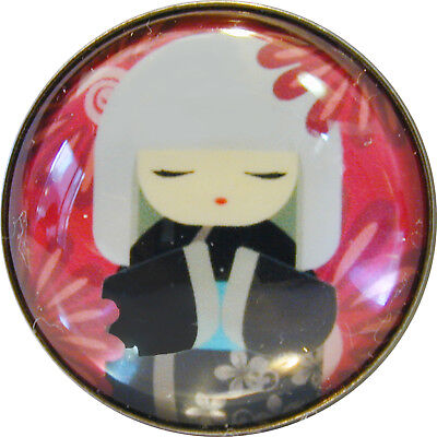 Japanese Kokeshi Doll Crystal Dome Button 12 Free Us Shipping