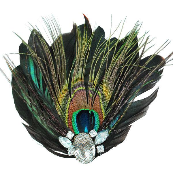 E4243 Peacock Rhinestone Feather Brooch Clip Applique