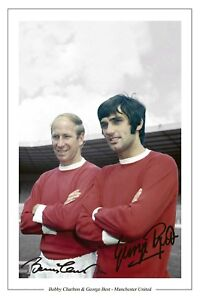 GEORGE-BEST-BOBBY-CHARLTON-MAN-UTD-SIGNED-PHOTO-PRINT-SOCCER-MANCHESTER-UNITED