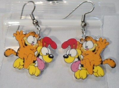 Odie Garfield Earrings Cat Dog Playful Friendship Charms