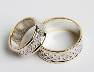 Pair set of irish Handcrafted 14k Gold and Sterling Silver Celtic