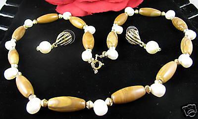 Picture Jasper & Pearl Necklace Earrings Set CAT RESCUE