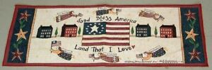 God Bless America ~ Americana Folk Angels Tapestry Table Runner