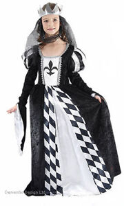 GIRLS-MEDIEVAL-TUDOR-LADY-QUEEN-FANCY-DRESS-COSTUME-BLACK-WHITE-9-12-YEARS-NEW