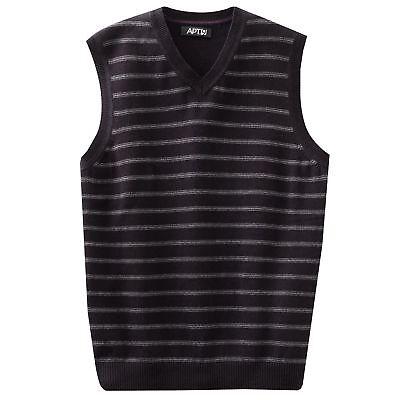 Apt. 9 Mens Black Tie Soft Cotton V-neck Striped Sweater Vest L L ...