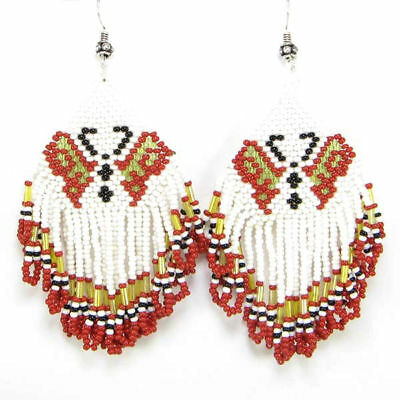 White Red Golden Seed Beads Butterfly Beaded Native American Inspired Earrings
