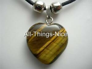 TIGERS-EYE-Gemstone-20mm-HEART-Pendant-Necklace-Fashion-Jewellery