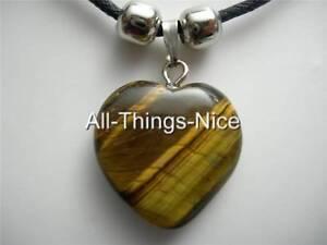 TIGERS-EYE-Gemstone-20mm-HEART-Pendant-Necklace-Fashion-Jewellery