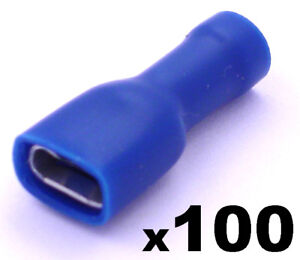 100x-Fully-Insulated-Blue-Female-Electrical-Spade-Crimp-Connector-Terminals