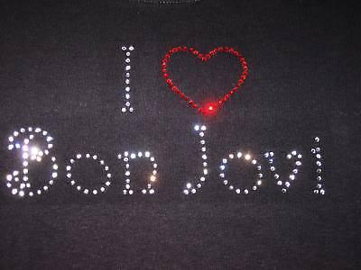 Girls Bon Jovi Rhinestone T-shirt Concert Rock Star