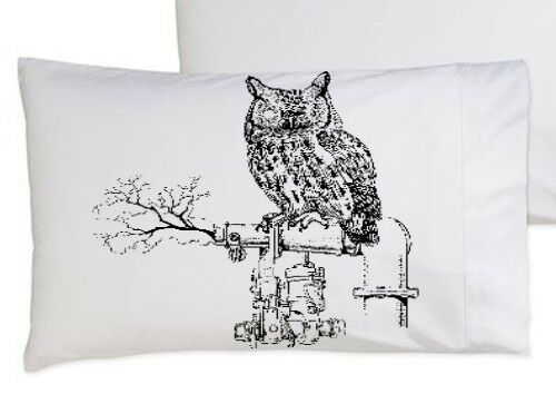 (1) One Black Steam Punk Owl bedding Pillowcase pillow cover