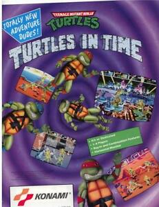 TEENAGE-MUTANT-NINJA-TURTLES-IN-TIME-NOS-VIDEO-ARCADE-GAME-FLYER-BROCHURE-TMNT