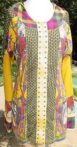 Woherren Top Jacket Tunic Zip Front ANAC Afternoon Chat Gelb Multi Farbes Hood