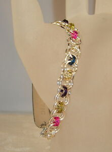Multi-Color-Silver-Helm-Chain-Mail-Medical-ID-Bracelet