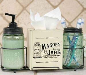 mason jar bathroom set. Image is loading Vintage MASON JAR Soap Toothbrush Tissue BATHROOM SET  eBay