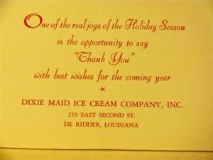 GREETING-CARD-DIXIE-MAID-ICE-CREAM-CO-CHRISTMAS-Holiday-Thank-you-Card