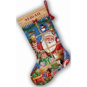 Counted-Cross-Stitch-Kit-SANTAS-TOYS-STOCKING-Dimensions-Gold-Collection