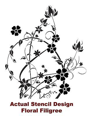Floral Filigree Large Wall Stencil Reusable Stencils