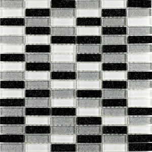 Black White Silver Glitter Brick Glass Mosaic