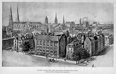 Columbia College University New York Birds Eye View 1894 History Architecture