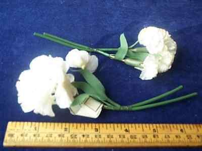 Vintage Millinery Flower White Satiny Carnation pr #P4