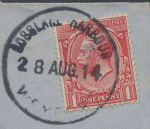 GB IRELAND KG5th 1914 1d FULL POSTMARK ROSSLARE HARBOUR