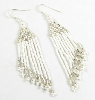 White Silver Seed Beaded Native American Style Earrings E1/100-8