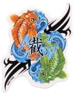Par 2 La Suerte Koi Yin Yang Japonés Peces Piscis Zodíaco La
