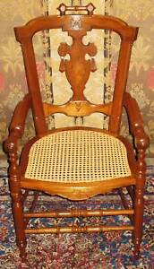 VICTORIAN-RENAISSANCE-REVIVAL-WALNUT-ARM-CHAIR-CANED