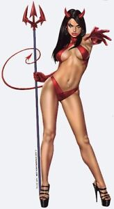 SEXY-Brunette-DEVIL-GIRL-RED-BIKINI-with-PITCHFORK-PINUP-GIRL-STICKER-DECAL