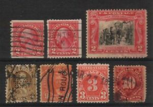 USA-1890-1930-OLD-USED-LOT-of-7-STAMPS