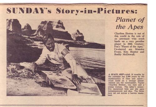 1968 SUNDAY magazine 2 page PLANET OF THE APES promo