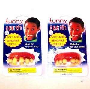 2 BILLY BUBBA FUNNY TEETH joke false costume prank bob JOKE novelty tooth trick