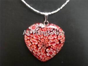 MILLEFIORI-Murano-Flower-Glass-30mm-HEART-Dark-Red-Pendant-Necklace-Jewellery