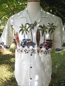 NEW-BEIGE-WHITE-WOODY-CARS-SURFBOARDS-Palm-Trees-Hawaii-Hawaiian-Men-Aloha-Shirt