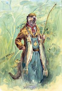 Funny-wildlife-Otter-fishing-fine-art-print-by-Jonathan-Walker-Jack-039-s-Brace