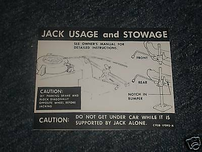 1969 Ford Thunderbird Trunk Jack Instructions Decal
