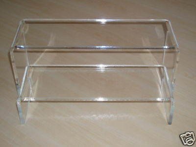 2 PERSPEX ACRYLIC DISPLAY CABINET STANDS RISERS SHELVES