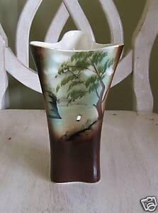 Vintage-Nippon-Yoko-Boeki-Brown-Green-Landscape-Vase